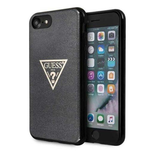 Guess ovitek iPhone SE 2020 iPhone 8 iPhone 7 crna black hard case Glitter Triangle