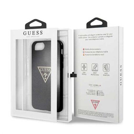 Guess ovitek iPhone SE 2020 iPhone 8 iPhone 7 crna black hard case Glitter Triangle4