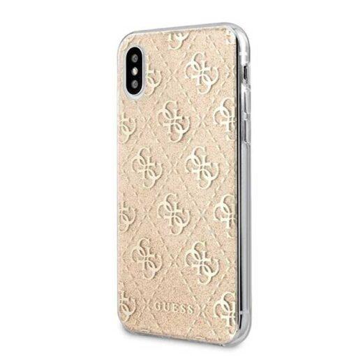 Guess ovitek iPhone X Xs zlata gold hard case 4G Glitter 1