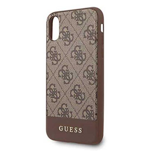 Guess ovitek iPhone x xs rjava brown hard case 4G Stripe Collection 1
