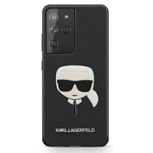 Karl Lagerfeld ovitek S21 Ultra crna black hardcase Saffiano Ikonik Karls Head