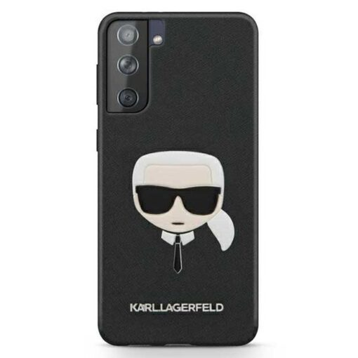 Karl Lagerfeld ovitek S21 crna black hardcase Saffiano Ikonik Karls Head