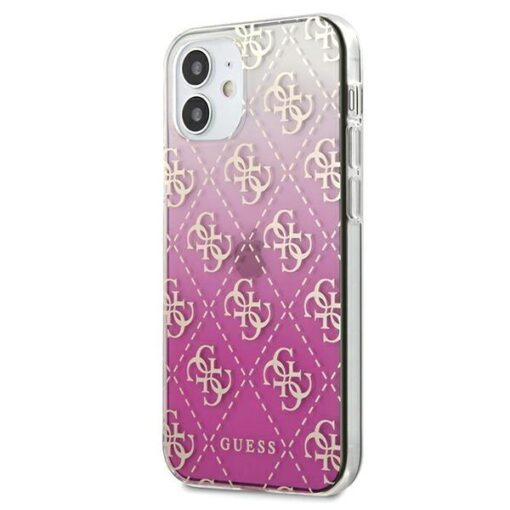 ovitek Guess iPhone 12 mini 5 4 roza pink hardcase 4G Gradient