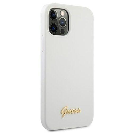 ovitek Guess za iPhone 12 12 Pro 6 1 bela white hardcase Metal Logo Script 2