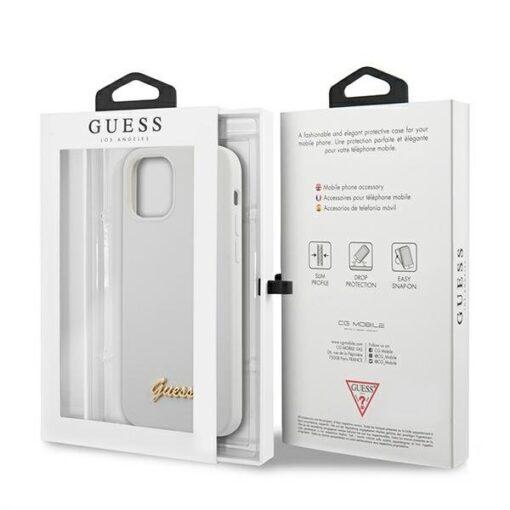 ovitek Guess za iPhone 12 12 Pro 6 1 bela white hardcase Metal Logo Script 3