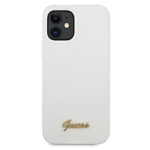 ovitek Guess za iPhone 12 mini 5 4 bela white hardcase Metal Logo Script 1