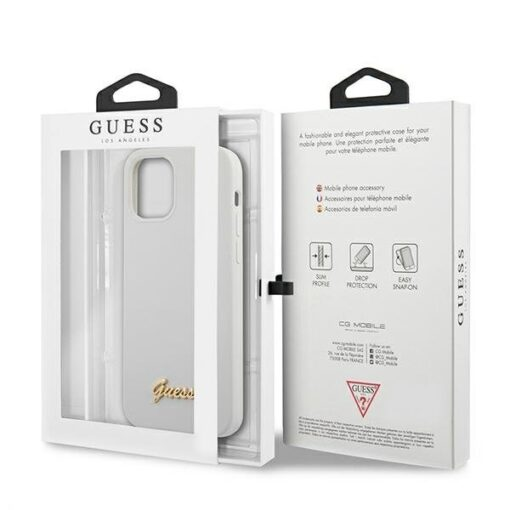 ovitek Guess za iPhone 12 mini 5 4 bela white hardcase Metal Logo Script 3
