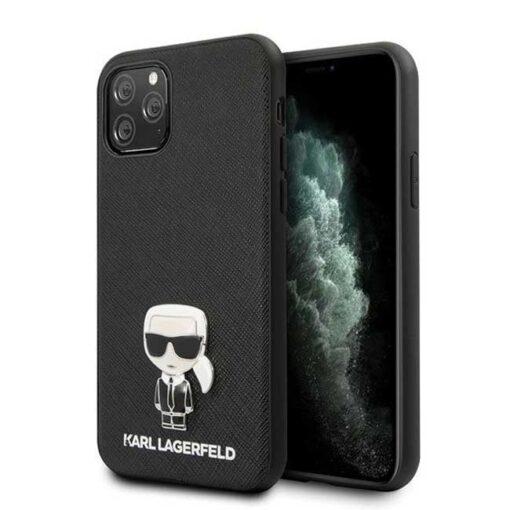 ovitek Karl Lagerfeld iPhone 11 Pro hardcase crna Saffiano Ikonik Karl Lagerfeld