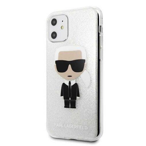 ovitek Karl Lagerfeld iPhone 11 srebrna Glitter Ikonik Karl 1