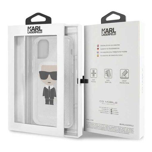 ovitek Karl Lagerfeld iPhone 11 srebrna Glitter Ikonik Karl 2