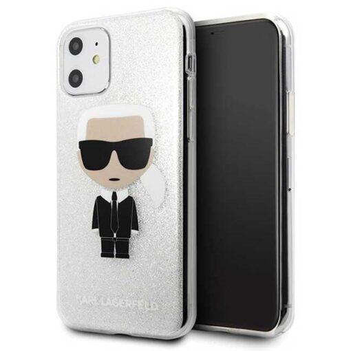 ovitek Karl Lagerfeld iPhone 11 srebrna Glitter Ikonik Karl