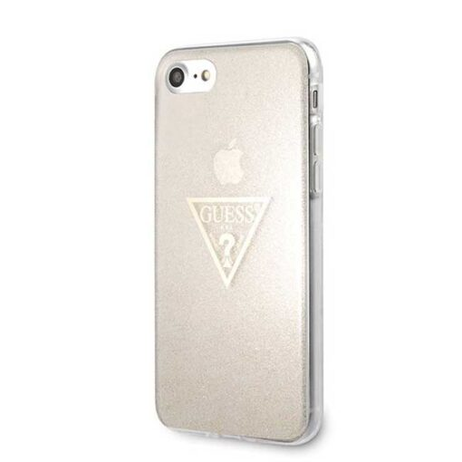 ovitek Guess za iPhone SE 2020 iPhone 8 iPhone 7 zlata gold hard case Glitter Triangle 1