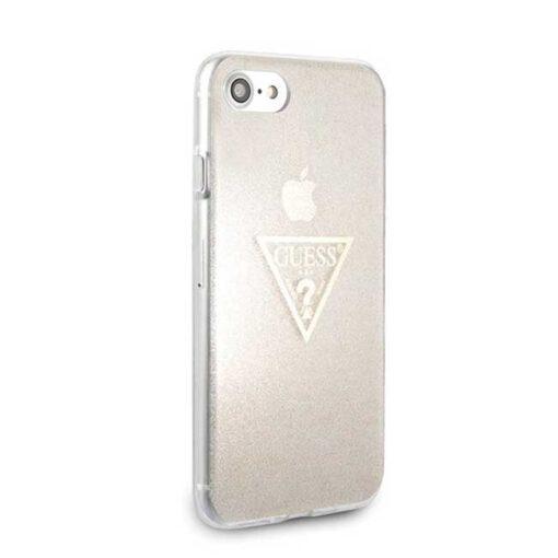 ovitek Guess za iPhone SE 2020 iPhone 8 iPhone 7 zlata gold hard case Glitter Triangle 2