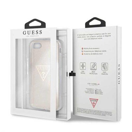 ovitek Guess za iPhone SE 2020 iPhone 8 iPhone 7 zlata gold hard case Glitter Triangle 3