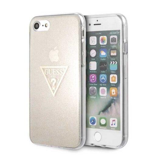 ovitek Guess za iPhone SE 2020 iPhone 8 iPhone 7 zlata gold hard case Glitter Triangle