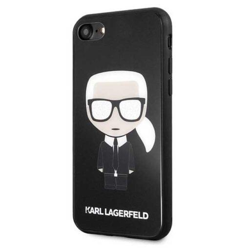 ovitek Karl Lagerfeld za iPhone 7 8 SE 2020 crna black hard case Iconic Karl Glitter 1