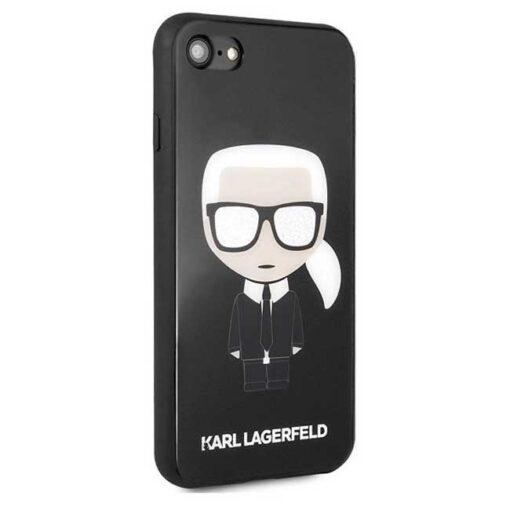 ovitek Karl Lagerfeld za iPhone 7 8 SE 2020 crna black hard case Iconic Karl Glitter 2
