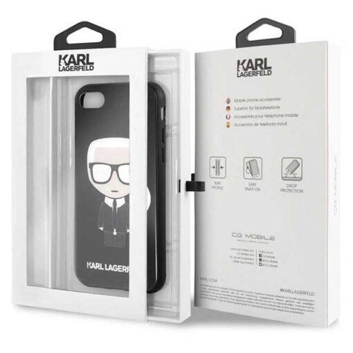 ovitek Karl Lagerfeld za iPhone 7 8 SE 2020 crna black hard case Iconic Karl Glitter 3