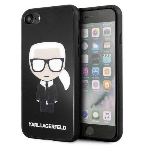ovitek Karl Lagerfeld za iPhone 7 8 SE 2020 crna black hard case Iconic Karl Glitter