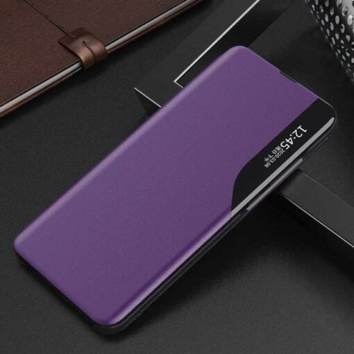 preklopni etui Eco Leather View Case elegant bookcase type case with kickstand for Huawei P40 Lite purple vijolicna 1