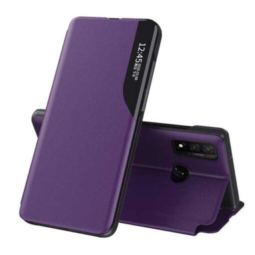 preklopni etui Eco Leather View Case elegant bookcase type case with kickstand for Huawei P40 Lite purple vijolicna