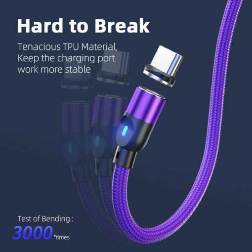 polnilni kabel lightning typec micro 3a vijolicna 5