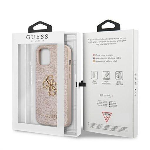 ovitek guess za iphone 12 12 pro big metal logo roza 4