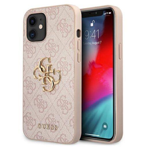 ovitek guess za iphone 12 mini big metal logo roza 1