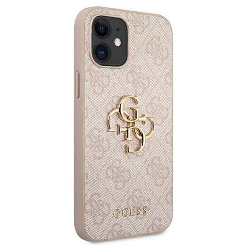 ovitek guess za iphone 12 mini big metal logo roza 2
