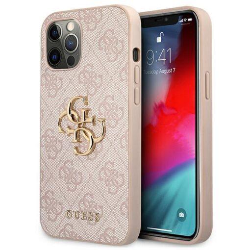 ovitek guess za iphone 12 pro max big metal logo roza 1