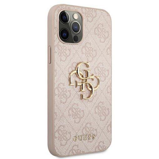 ovitek guess za iphone 12 pro max big metal logo roza 2