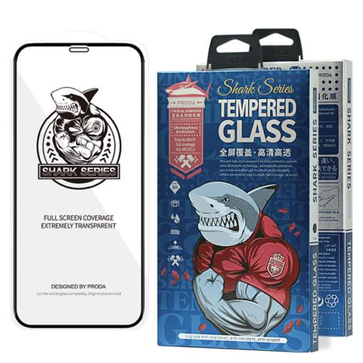 zascitno steklo Shark Full Glue s crno obrobo za iPhone 12 Pro iPhone 12