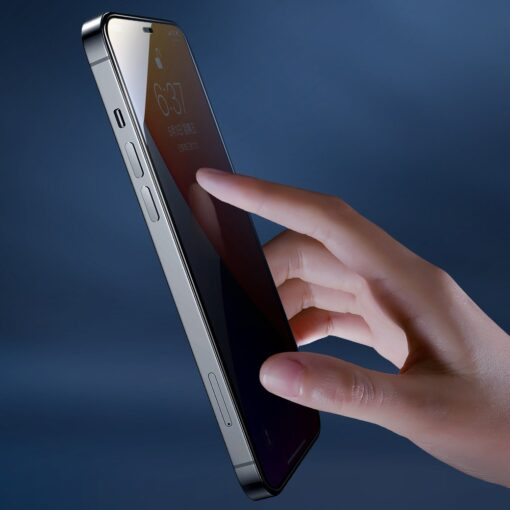 zascitno steklo privacy 5D full screen tempered glass za iPhone 12 Pro iPhone 12 s crno obrobo 3