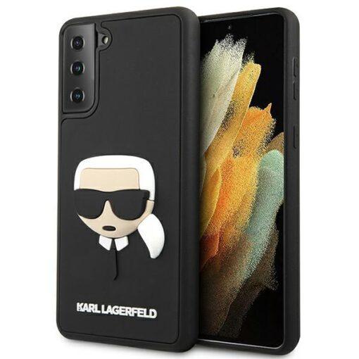 ovitek Karl Lagerfeld za samsung galaxy S21 crna black hardcase 3D Rubber Karls Head 1