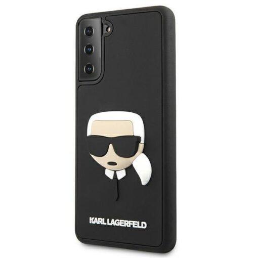 ovitek Karl Lagerfeld za samsung galaxy S21 crna black hardcase 3D Rubber Karls Head 2
