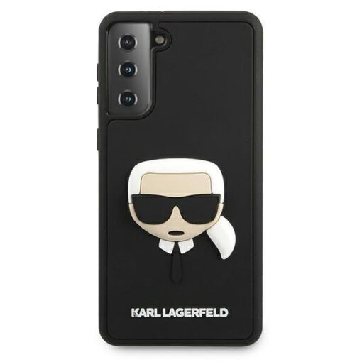 ovitek Karl Lagerfeld za samsung galaxy S21 crna black hardcase 3D Rubber Karls Head 3