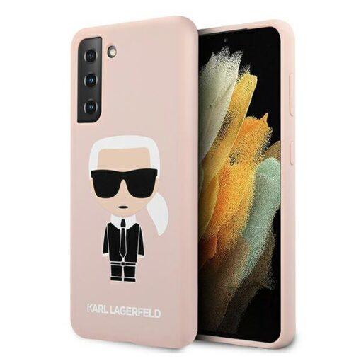 ovitek Karl Lagerfeld za samsung galaxy S21 hardcase roza light pink pink Silicone Iconic 1