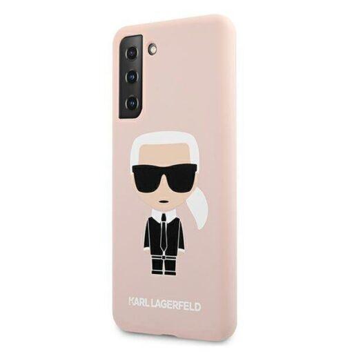 ovitek Karl Lagerfeld za samsung galaxy S21 hardcase roza light pink pink Silicone Iconic 2