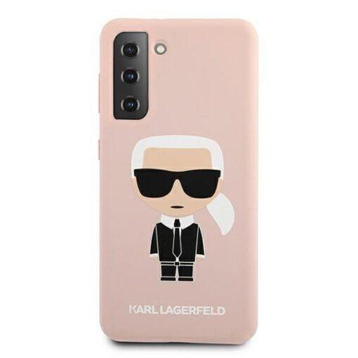 ovitek Karl Lagerfeld za samsung galaxy S21 hardcase roza light pink pink Silicone Iconic 3